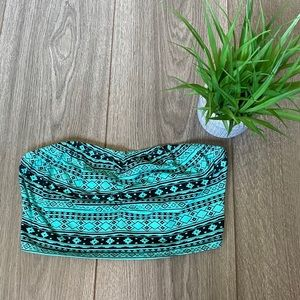 Forever 21 Tribal Print Cropped Tube Top Sz Small